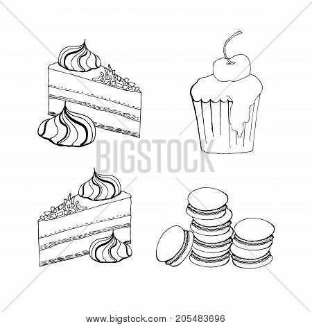 Cakes, Cupcakes And Pastry Desserts. Vector Muffin, Creamy Pie Or Tarts With Strawberry And Kiwi On