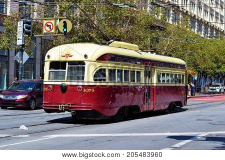 September 17, 2017 in San Francisco, CA:  Railway Street Car which is part of the local transit system taken in San Francisco, CA where people can ride these historic street cars between the Castro and Fisherman's Warf on Market Street