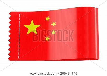 Clothing tag label with flag of China. 3D rendering isolated on white background