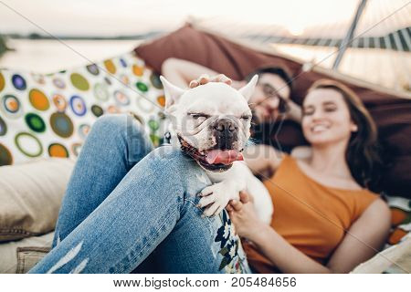 Cute Dog Smiling While On A Trip With His Owners, Joyful Young Family, Woman Petting Dog While Lying