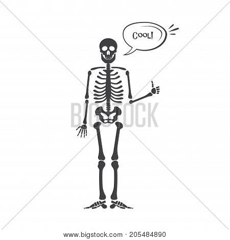 Skeleton human anatomy. Vector halloween black skeleton isolated on white. Skeleton hand sign: ok, finger up, finger down, fist, middle finger, Rock n roll horns, clapping palms and other emoji