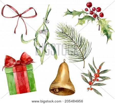 Watercolor Christmas plant and decor. Hand painted mistletoe, holly, gift with bow, red bow, gold bell, Christmas tree branches isolated on white background. Holiday clip art for design or print