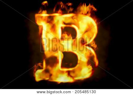 Fire letter B of burning flame light 3D rendering isolated on black background