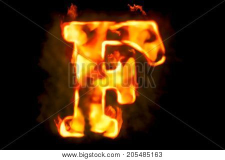 Fire letter F of burning flame light 3D rendering isolated on black background