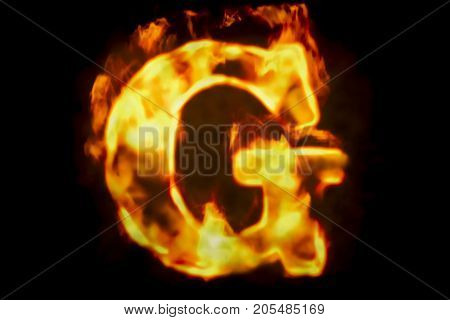 Fire letter G of burning flame light 3D rendering isolated on black background