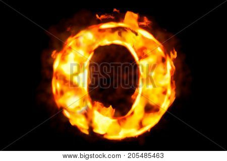 Fire letter O of burning flame light 3D rendering isolated on black background