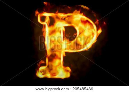 Fire letter P of burning flame light 3D rendering isolated on black background