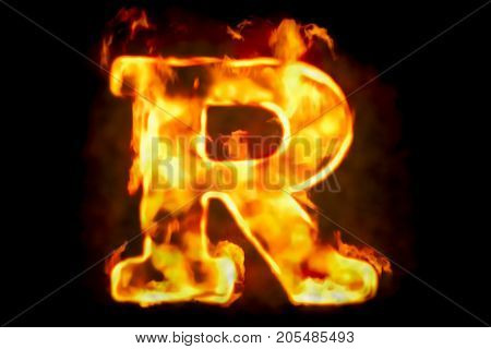 Fire letter R of burning flame light 3D rendering isolated on black background