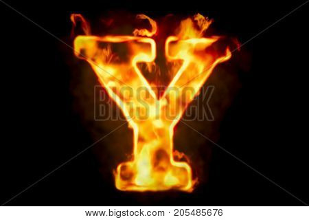 Fire letter Y of burning flame light 3D rendering isolated on black background