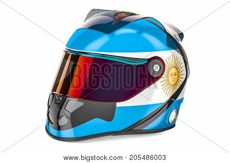 Racing helmet with flag of Argentina 3D rendering isolated on white background