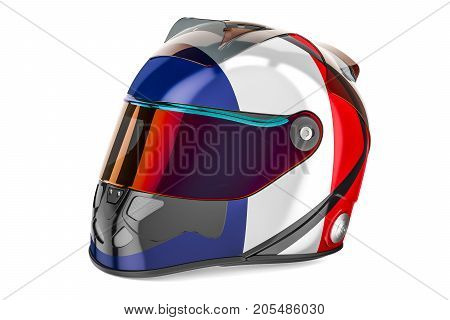 Racing helmet with flag of France 3D rendering isolated on white background
