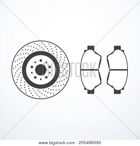 Brake disk and brake pads. Vector illustration