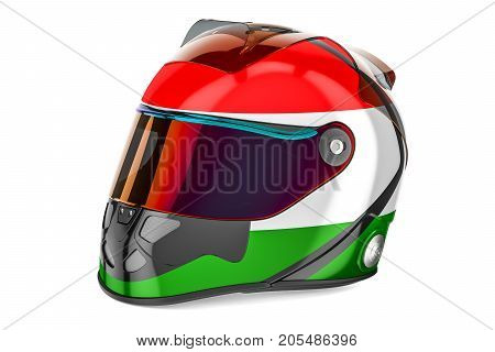 Racing helmet with flag of Hungary 3D rendering isolated on white background