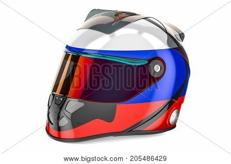 Racing helmet with flag of Russia 3D rendering isolated on white background