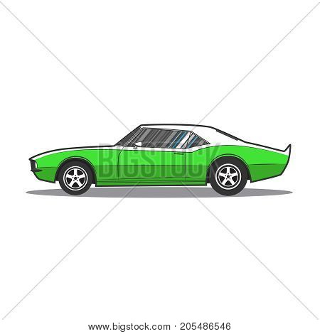 American muscle car. Side view. Vector illustration