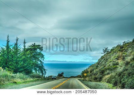 Overcast sky over Pacific Coast Highway California