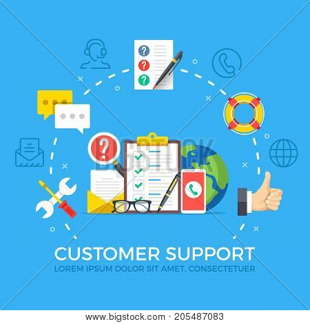 Customer support flat illustration concept. Creative flat icons set, thin line icons set, graphic elements for web banners, websites, infographics. Modern vector illustration