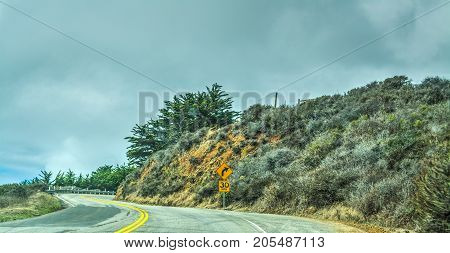 Pacific Coast Highway on a foggy day California
