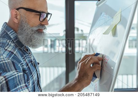 Profile of professional elderly bearded man is erasing marker from flip chart while standing big window with cityscape. Copy space in the right side