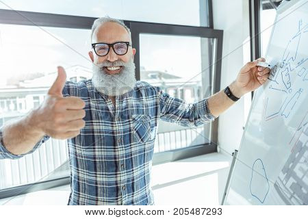 Good work. Portrait of joyful bearded senior man is standing near flip chart and showing thumbs up while looking at camera with wide smile. Window with cityscape on background