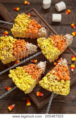 Crispy oat rings candy corn with marshmallows
