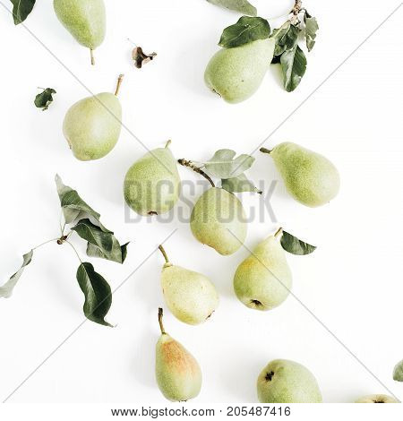 Minimalistic pears fruit and leaves pattern on white background. Flat lay top view.