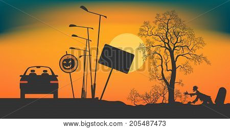 The car stopped on the road at night. Road signs Halloween. Bushes and a tree without leaves on a roadside. The zombie creeps out of a grave. Night during Halloween. Vector illustration EPS-8.