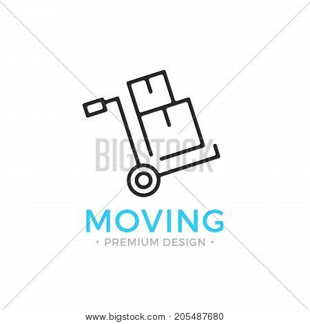Moving line icon. Hand truck with cardboard boxes. Relocation concept. Simple linear design. Black vector moving icon isolated on white background