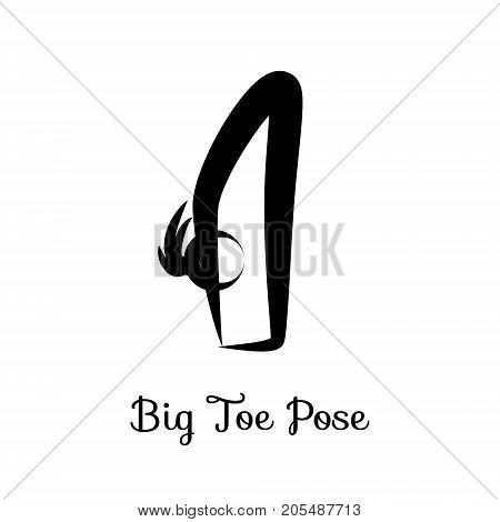 Big Toe Pose, Padangusthasana. Yoga Position. Vector Silhouette Illustration. Vector graphic design or logo element for spa center, studio, poster. Yoga retreat. Black. Isolated