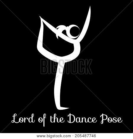 Lord of the Dance Pose, Natarajasana. Yoga Position. Vector Silhouette Illustration. Vector graphic design or logo element for spa center, studio, class, center, poster. Yoga retreat. White