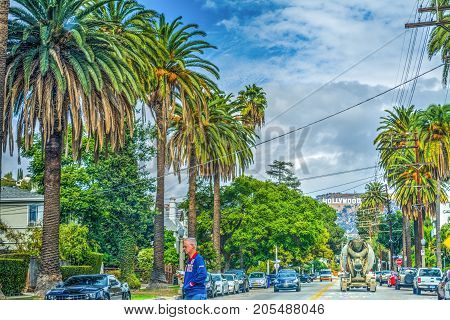 LOS ANGELES CALIFORNIA - OCTOBER 28 2016: Hollywood sign seen from Beachwood drive