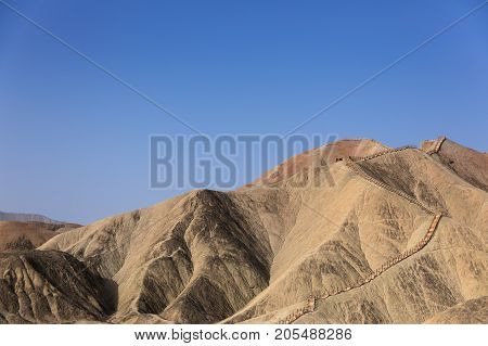 Large colorful mountains in China in Ganzhou province