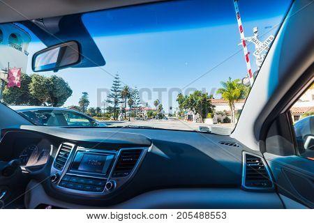 Driving through Santa Barbara in California, usa