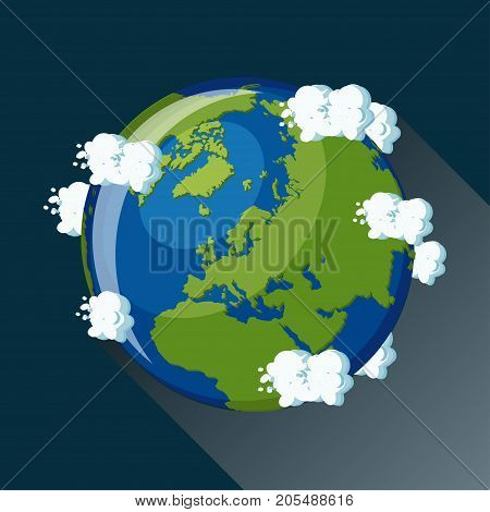Europe map on planet Earth, view from space. Europe globe icon. Planet Earth globe map with blue ocean, green continents and clouds around. Cartoon style  flat vector illustration.