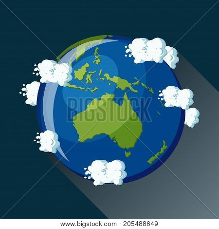 Australia map on planet Earth, view from space. Australia globe icon. Planet Earth globe map with blue ocean, green continents and clouds around. Cartoon style  flat vector illustration.