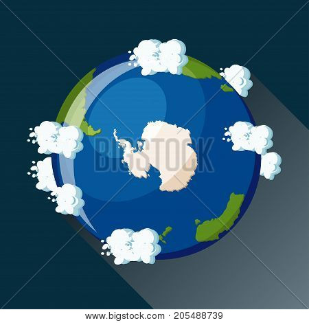 Antarctica map on planet Earth, view from space. Antarctica globe icon. Planet Earth globe map with blue ocean, continents and clouds around. Cartoon style  flat vector illustration.