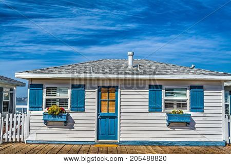 Wooden house by the sea in San Diego California