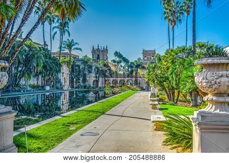 Walk path by the pond in Balboa park California