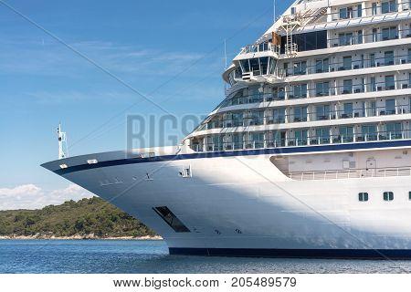 Seaside view of on large luxury cruiser at Croatia