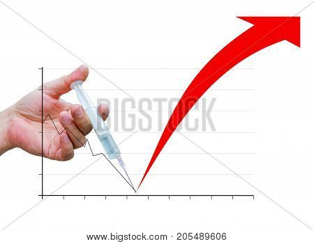 The hand injects a financial injection on a chart on a white background