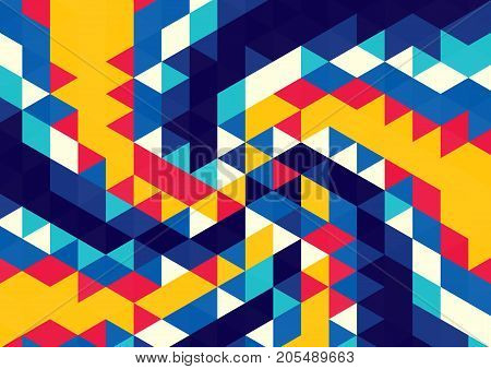 Abstract background of colored triangles. Geometric pattern. Whirlpool of shapes.