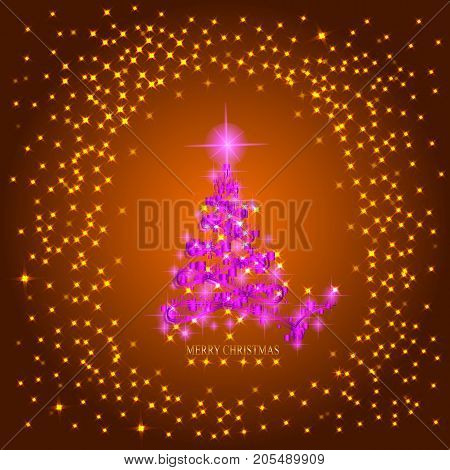 Abstract background with pink christmas tree, lights and stars. Illustration in gold and pink colors.
