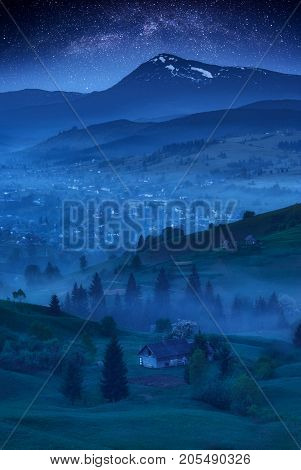 The Foggy Village In A Moonlight