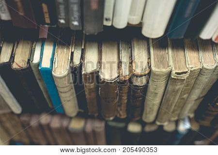 a row of old vintage books texture
