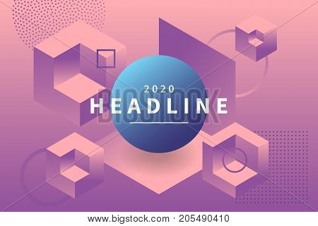Abstract holographic background with 3d geometric shapes. Levitating geometric figures composition. Trendy banner with copy space frame. Applicable for party invitation, conference invite.