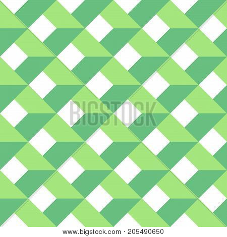 3D vector abstract seamless pattern. Green grid.