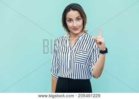 Shame Of You! Cute Business Woman Worker Lady Pointing Finger Up And Smiling Face.