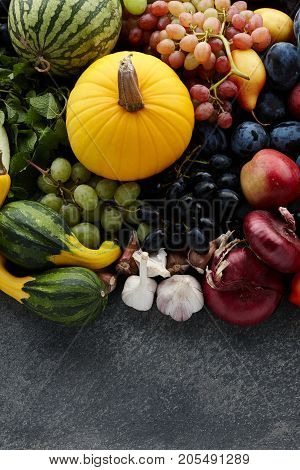 Autumn harvest concept. Seasonal fruits and vegetables on a stone tabletop, top view