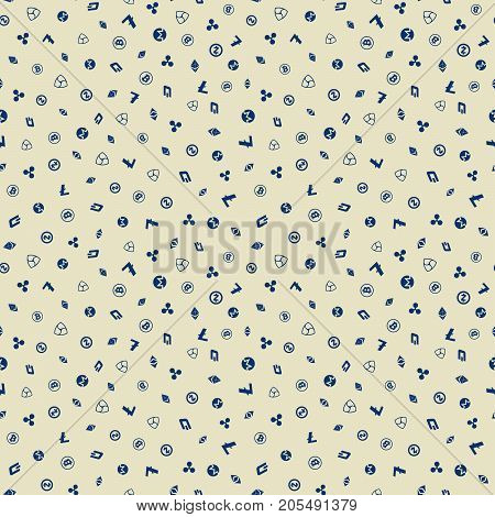 Cryptocurrency seamless pattern. Crypto currency background. Bitcoin, Ethereum, Ethereum classic, Dash, Litecoin, Monero, Nem, Ripple, Zcash. Vector illustration.
