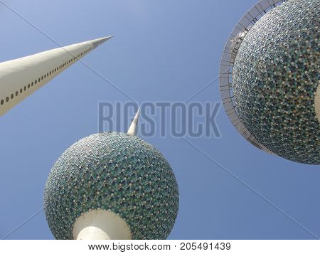 Under The Three Kuwait Towers Landmarks Closeup